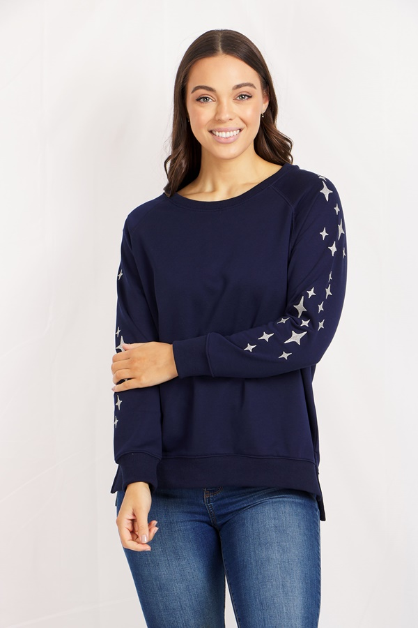 LONG SLEEVE EMBROIDERY DETAIL TOP