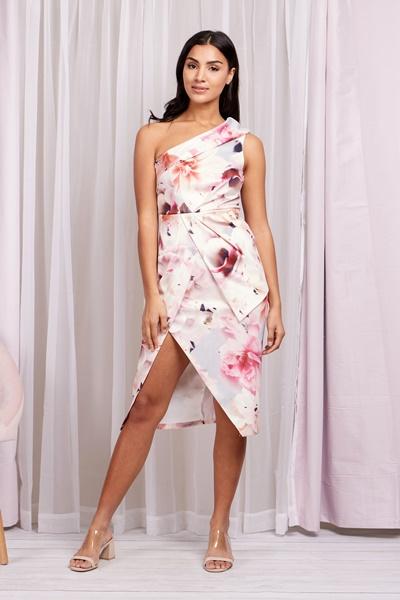 One shoulder floral midi dress