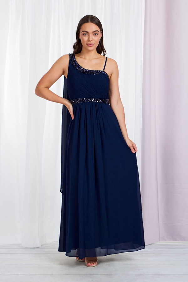 ONE SHOULDER GRECIAN MAXI DRESS
