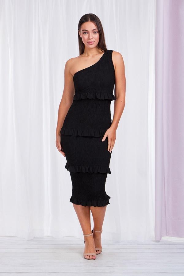 One shoulder shirred dress