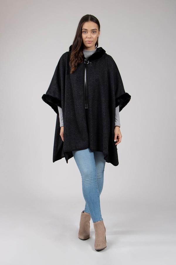 Oversized Faux Fur Trim Coat