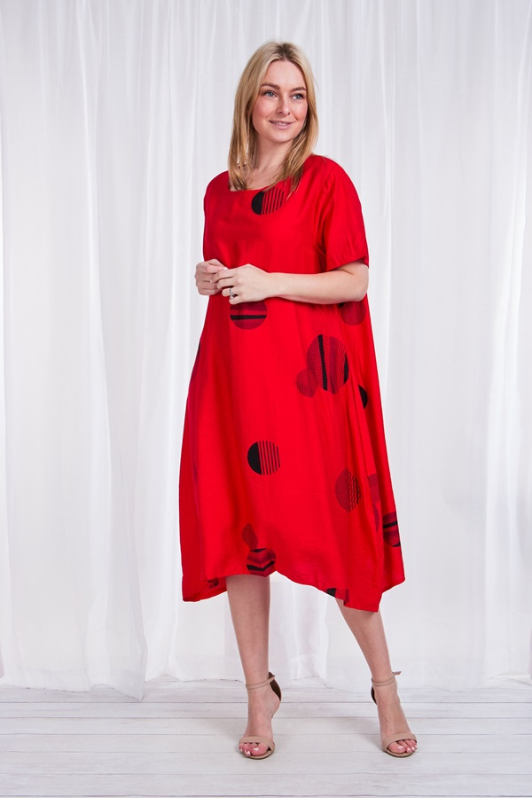 Oversized printed tunic dress
