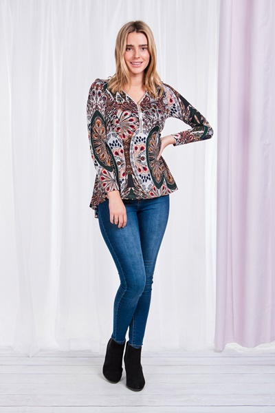 PEACOCK PRINT PEPLUM TOP