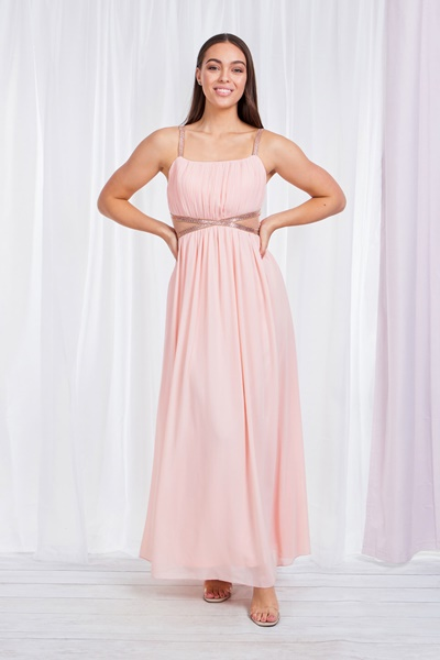 PLEAT FRONT DRESS WITH SHEER PANELS