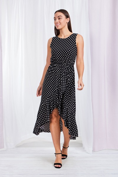 Polka dot frill wrap dress