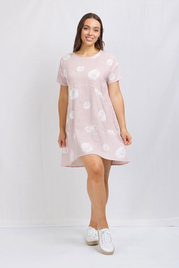 Polka dot linen tunic dress