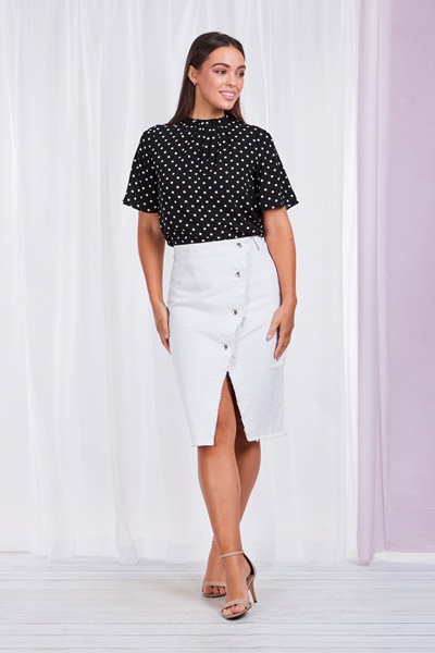 Polka dot Pleated Neck Top