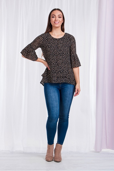 Printed Double Layer Blouse