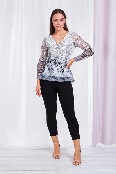 PRINTED LACE PEPLUM TOP