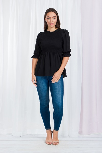 Puff sleeve shirred top