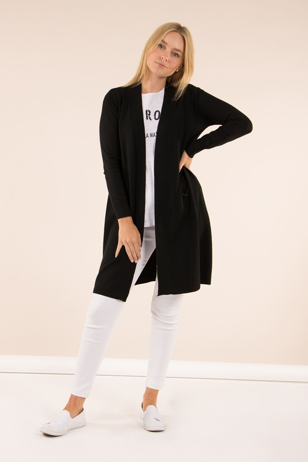 Ribbed long line knitted Cardigan