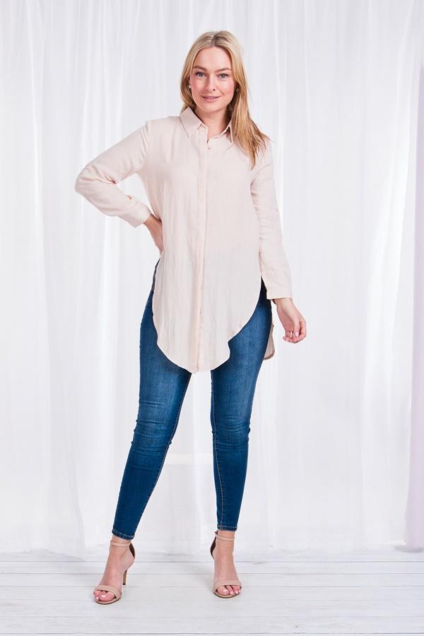 Roll-up sleeve longline shirt