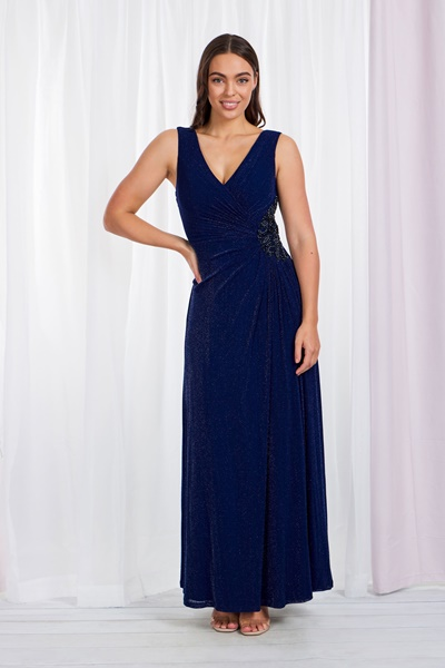 RUCHED SEQUIN SIDE MAXI DRESS