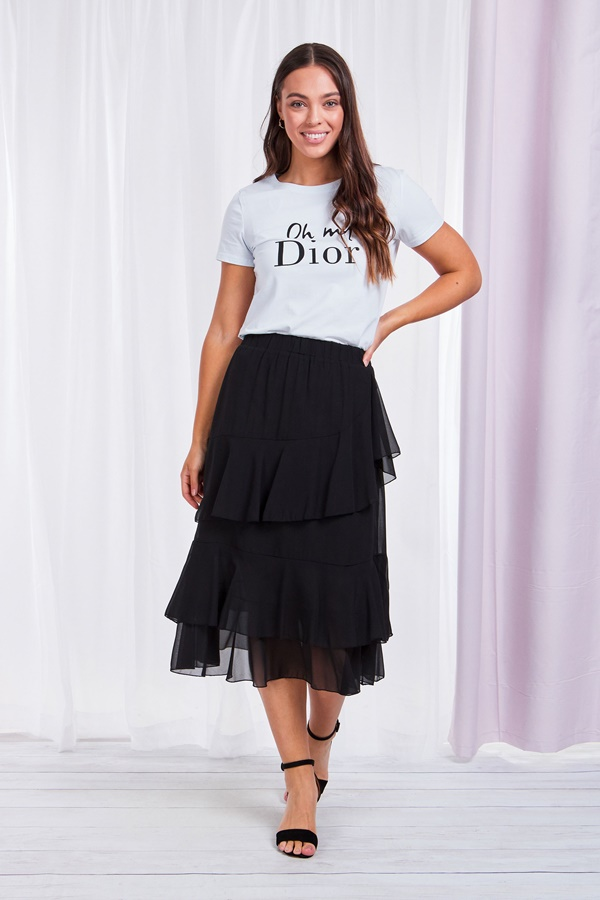 Ruffled Front Skirt