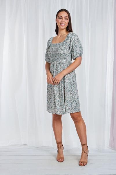 SHIRRED TOP FLORAL DRESS
