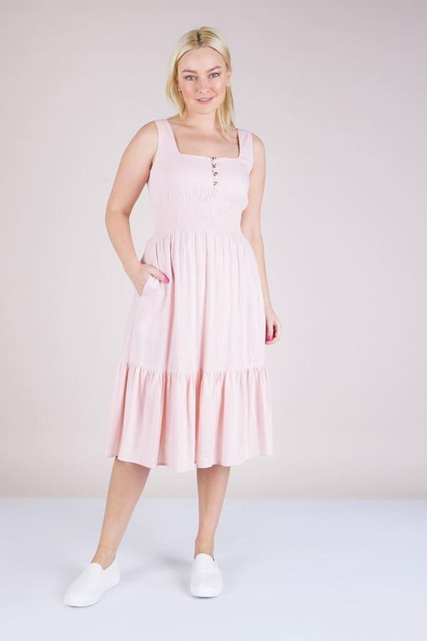 SHIRRING DETAIL TIERED DRESS