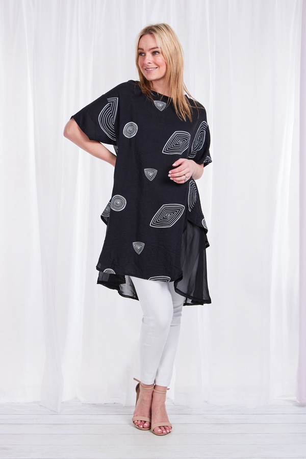 Short sleeve printed tunic