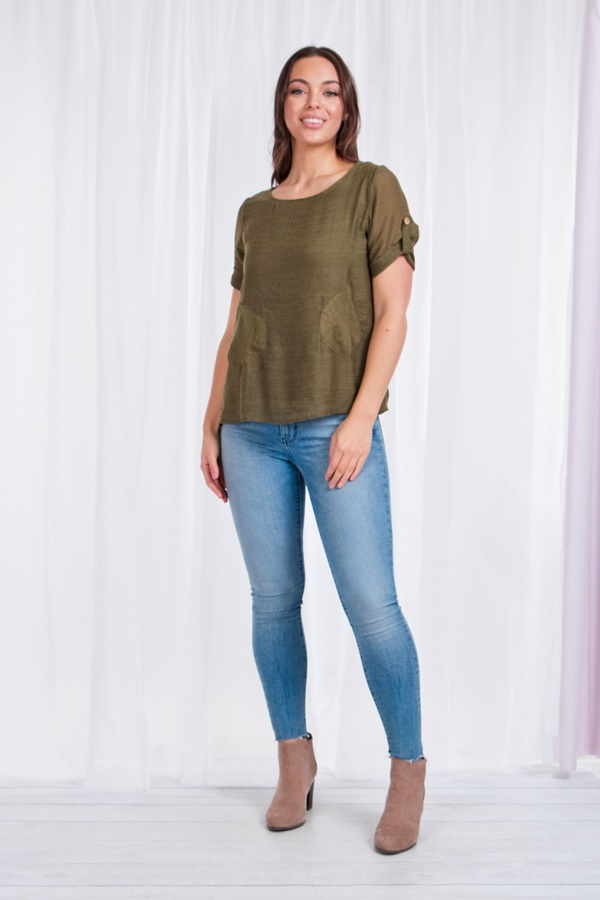 Short sleeve top with pockets