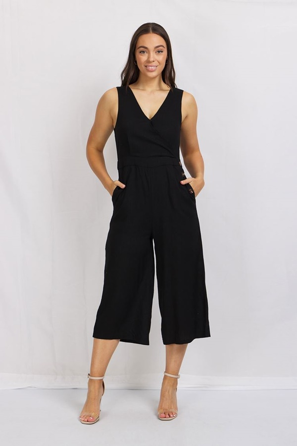 SLEEVELESS WIDE LEG JUMPSUIT