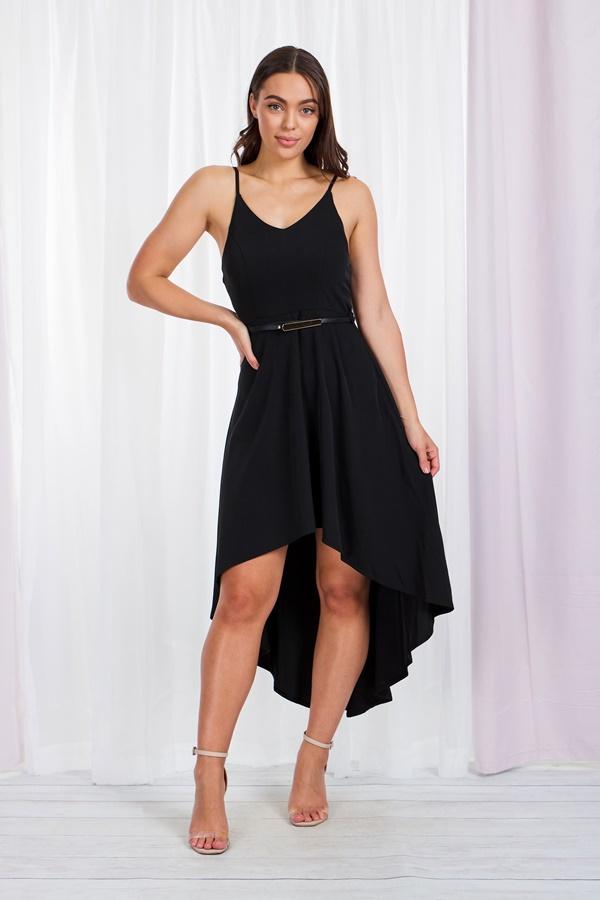 Slip Dress with Mullet Hem