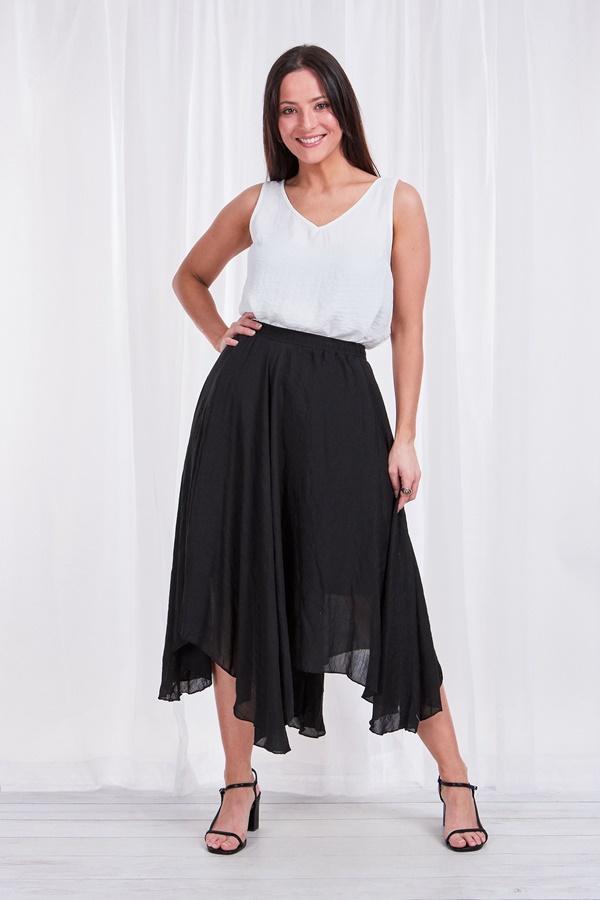 Soft asymmetrical hem skirt