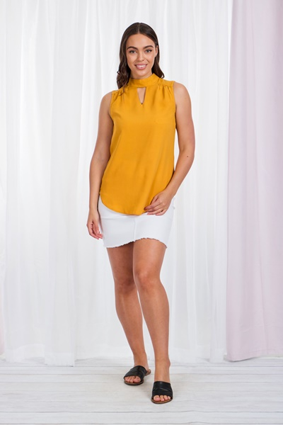 Solid Blouse with Front Cutout