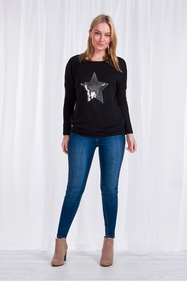 Star sequin knit top