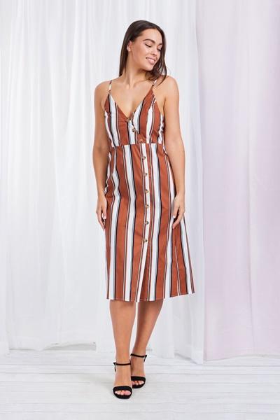 STRIPE BUTTON FRONT CAMI DRESS