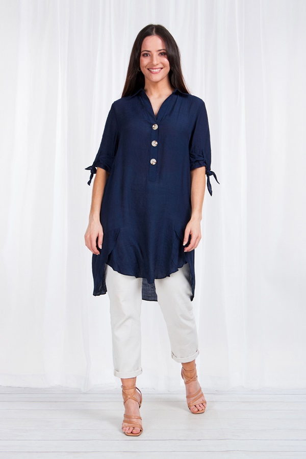 Tie Sleeve Shirt with half placket