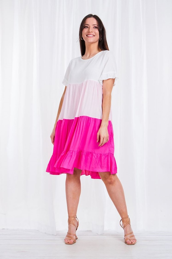 TIERED color block SUMMER DRESS