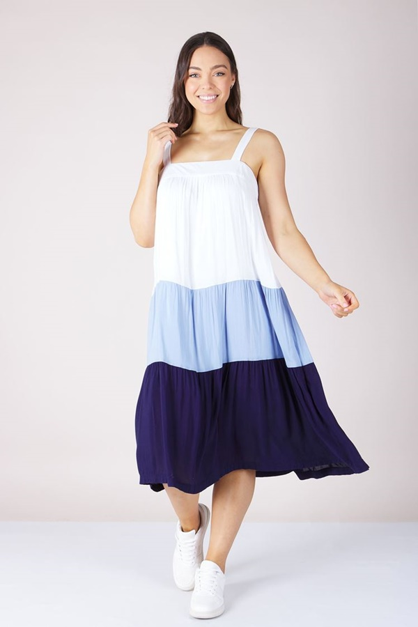 TIERED COLOUR BLOCK DRESS