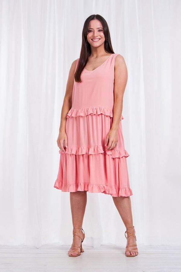 Tiered midi dress with frill trim