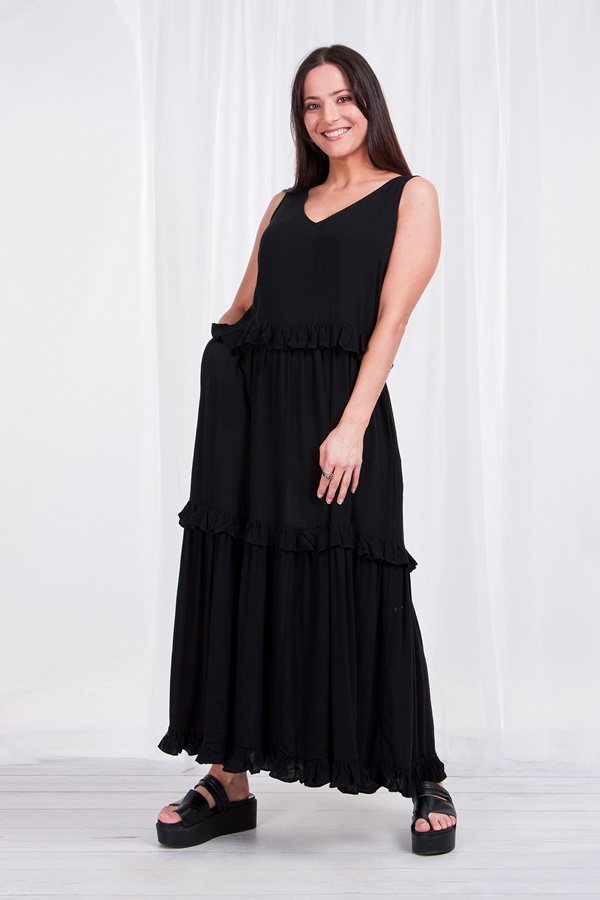 Tiered trapeze maxi dress with frill trim