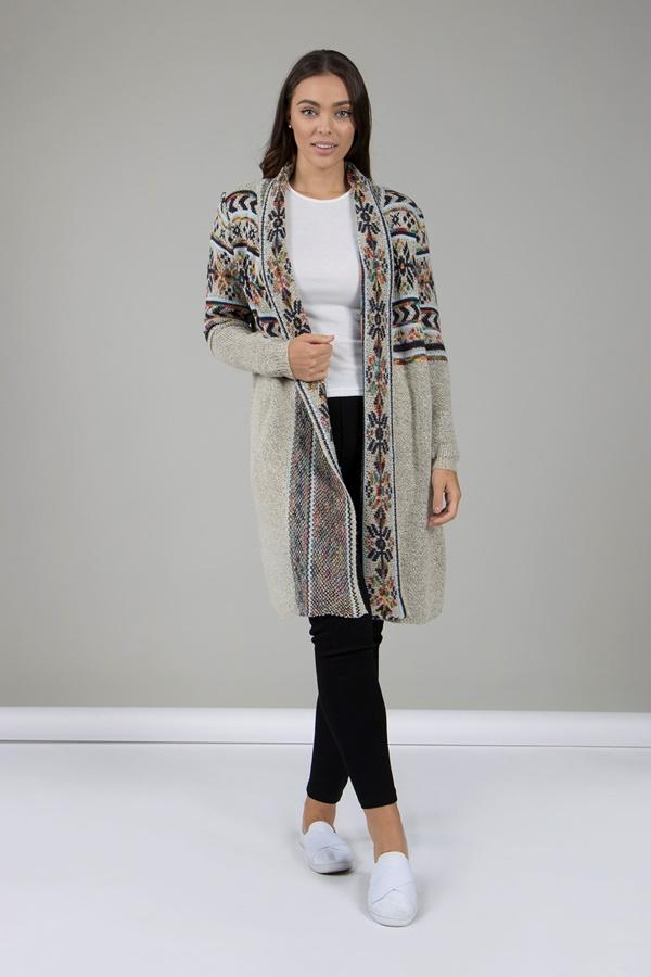 Tribal Print Knit Cardigan