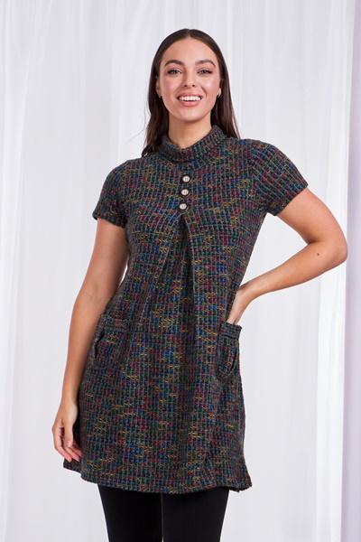 TWEED BUTTON DETAIL DRESS