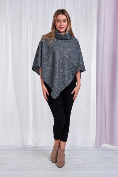 Tweed Roll-Neck Cape
