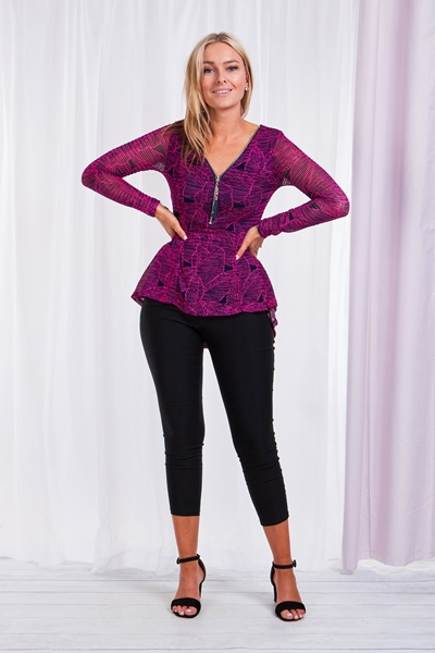 Zip Front Lace Top