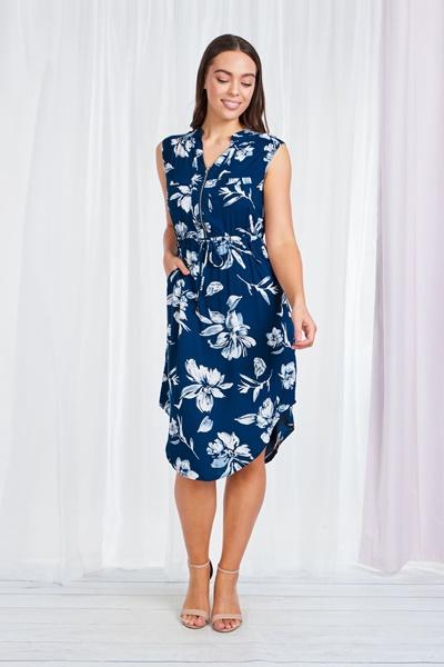 ZIP NECK FLORAL DRESS